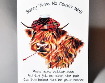 Scottish Get Well Soon Coo Card WWGW08