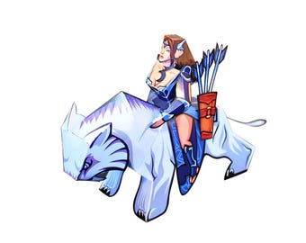 Mirana from Dota 2 - Paper Toy - DIY Paper Craft Kit - 3D Paper Figure from Dota 2