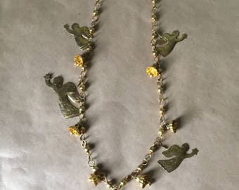 1970s Gold Tone Angel Necklace