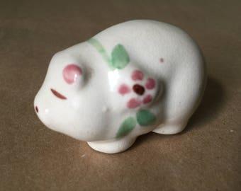 Porcelain Pig Figurine 1950s
