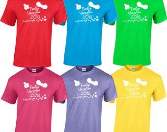 Walt Disney World family vacation 2018 matching tee shirts t bright colors magic kingdom epcot animal kingdom hollywood studios avatarland