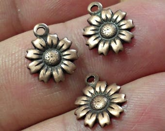 Vintage Set of 5 brass stamping Bronze copper color  sunflower   charms pendant Vintage Jewelry Findings made in USA /U10