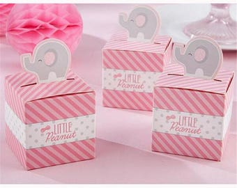50Pcs Pink Elephant Wedding Favors And Gifts Candy Box For Birthday Party Decorations Kids Baby Shower Supplies
