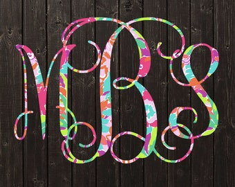 Lilly Pulitzer Monogram Decal / Vinyl Decal / Bridesmaid Gift / Womens Gift / Car Decal / Yeti Decal / Laptop Decal