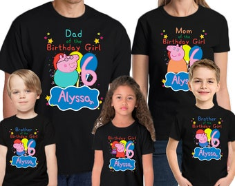 Peppa Pig Shirt Personalized Name & Age  Peppa Pig Birthday Shirt Birthday Peppa Pig Party T Shirt Personalized Birthday Family shirts