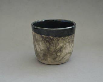 Black bubble-glazed cup- Handmade stoneware ceramics