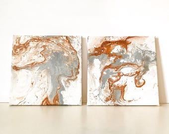 Set of 2 Classic Copper and Silver Marble Square 8X8 Inch Canvas Wall Hanging, Hand Printed One Off