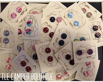 Bulk Wholesale Handmade Fabric Button Earrings 50 pair