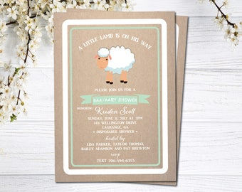 Little Lamb Baby Shower Invitation | Sheep Baby Shower Invitation | Lullaby Sheep Baby Shower Invitation | Shabby Chic | Little Lamb on Way