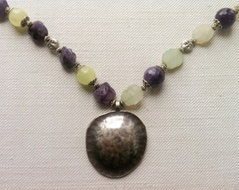 Designer long amethyst and onyx necklace with large pendant ooak