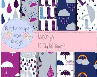 Raindrops Digital Paper Pack