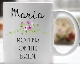 Wedding Party Coffee Mugs, Mother of the Bride, Mother of the Groom, Bride, Maid of Honor, Bridesmaid