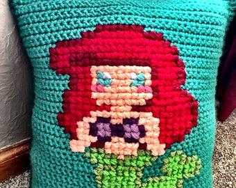 Mermaid Pillow, Crochet Mermaid Pillow, Decorative Mermaid Pillow