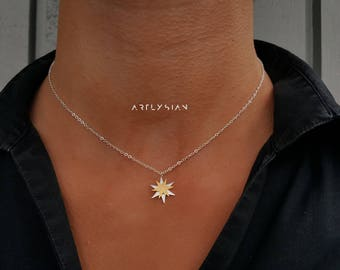 Choker star necklace, 2 stars colour necklace, Silver star choker, Little star necklace, Tiny star necklace, gold star pendant, celestial