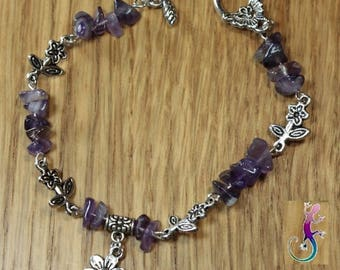 Amethyst flower and toggle clasp charm bracelet