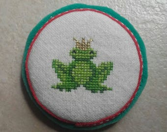 Pincushion embroidered frog prince