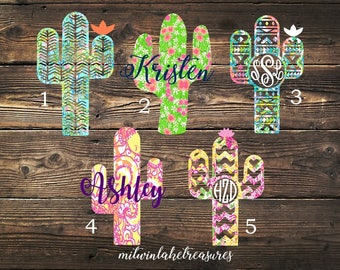 Lilly Pulitzer Cactus Decal / Custom Monogram, Name, Size, Color  / Car, Yeti, Tumbler, Wall Sticker / Flower, Aztec, Desert, Girly