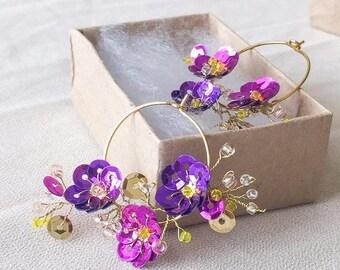 Purple and Pink Sequin Flower Vine Gold Hoop Earrings