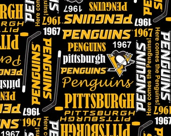 NHL PITTSBURGH PENGUINS Retro 1967 Hockey 100% cotton fabric material you choose length licensed for Crafts, Quilts, clothing and Home Decor