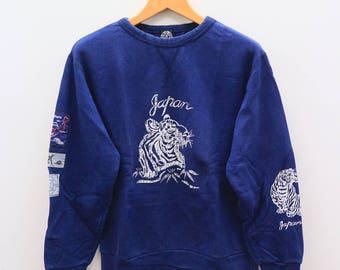 Vintage SUKAJAN Japanese Tiger Souvenir Blue Sweater Sweatshirt Size M