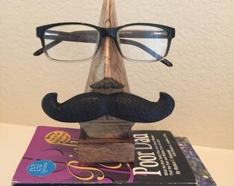 eyeglasses holder,spectacle stand,fathers day gift,dads gift,gift for him,grandfathers gift,grandad gift,birthday gift,office decor,mustache