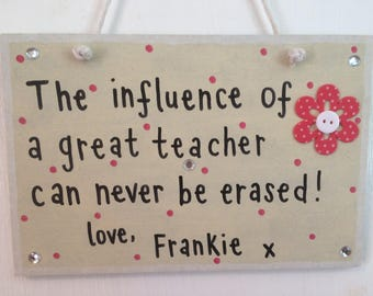 Personalised Thank you teacher plaque