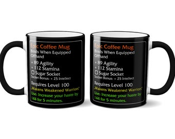 Legendary Epic Coffee Mug MMO Item Tasse Funny Tea Cup Gaming Geek Fan Gift