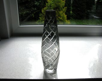 """West German Glass Vase / Alfred Taube Vohenstrauss / Mid century / Modern / Smoked Glass Vase / Gray Glass / Faceted Glass / 13"""" / Tall Vase"""
