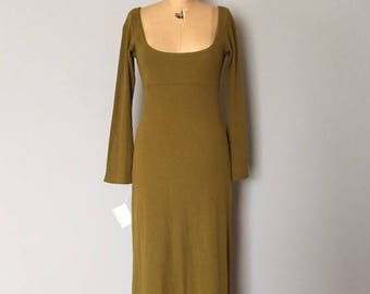 20% OFF SALE... olive green knitted maxi dress | empire waist deep neckline cotton dress