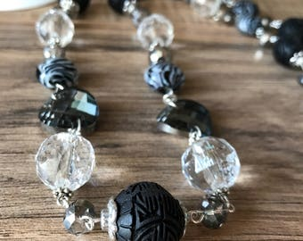 Women's necklace, black and silver necklace, glass zebra beads, black hand carved beads, long necklace, black earrings, Crystal Ball