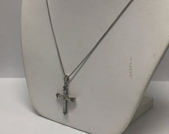 Vintage Sterling Silver Marcasite Cross Pendant Necklace Signed N/C