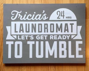 Painted wooden laundry room sign, vintage inspired, gifts for Mom, Landromat style rustic wooden sign, laundry room decor, funny quote signs
