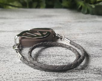 Gray Wrap Leather Bolo Bracelet, available for Bellabeat Nature, Urban or Impulse Leaf