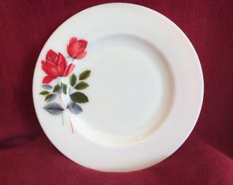 """Pyrex JAJ June Rose Dessert Plate 9.75"""" Diameter 1960's"""