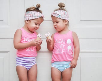 Treat yo self ice cream tank, ice cream outfit, toddler ice cream shirt, ice cream shirt for girls, ice cream tank top, summer tank top