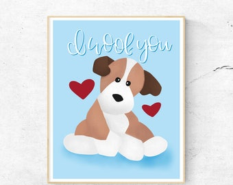 Baby BOY NURSERY PRINTABLE | I Woof You Quote, Baby Wall Art, Wall Decor, Baby, Dog Illustration, Instant Download, Digital Download, Decor