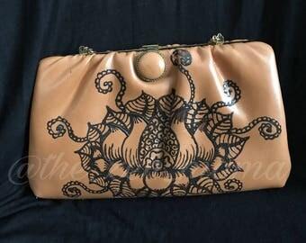 Lotus - Handpainted Vintage Handbag
