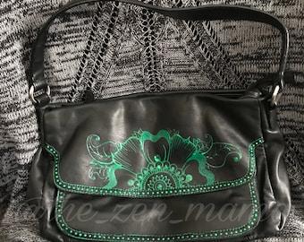 Henna Flower - Handpainted Leather Handbag