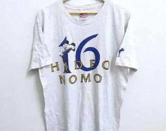 RARE!!! Dodgers Baseball By Hideo Nomo 16 Player Big Logo Crew Neck Grey Colour T-Shirts L Size