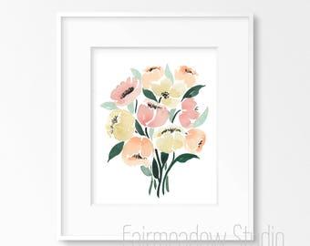 Pastel Bouquet 8x10 Original Watercolor
