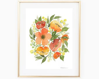 Orange Bouquet - 8x10 Original Watercolor