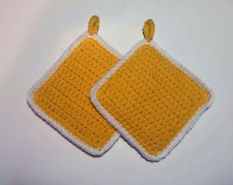 Handmade Pot Holders & Trivets Set Sunflower Yellow