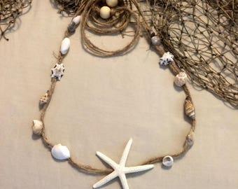 Natural Starfish, Shell twine headband