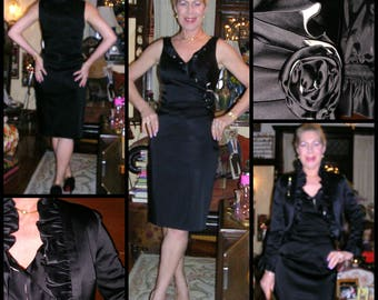 Vintage early 1960's black duchess satin Marilyn Monroe style wiggle dress + co-ordinated bolero frilled jacket sporting attached corsage 10