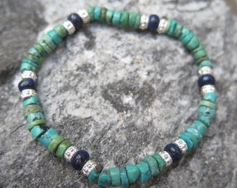 Turquoise Bracelet AB Quality with 925 Silver and Lapis Lazuli Buttons