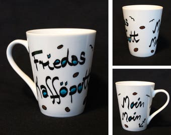 "Cup ""Kafföpott wish name"" or Teepott-hand painted with your wish name-dishwasher-safe-moin-Anker-maritim-Coffee cup"