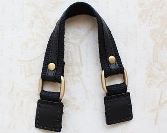 "10.5"" Black Leather&Webbing Purse Strap Replacement"