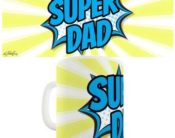Comic Book Super Dad Ceramic Tea Mug