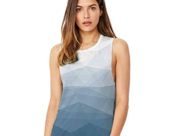 Abstract Print Geometrical Pattern Triangles Polygon Women's Printed Comfortable and Soft Flowy Scoop Muscle Tank with Unique Design
