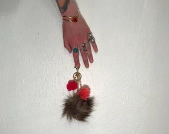 3 Pompom Keychain or Purse Charm